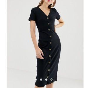 Asos Glamorous button front midi dress in rib